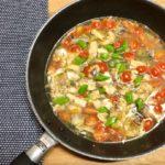 【犬用手作りごはんレシピ】栄養たっぷり!鯖(サバ)の水煮缶で簡単アクアパッツァ風